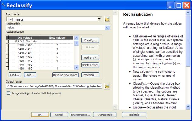 Reclassify dialog box