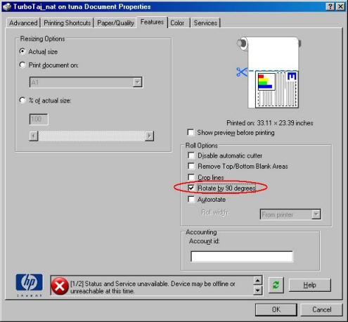 HP printers dialog