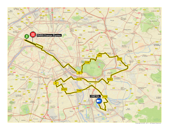 Let Tour de France map