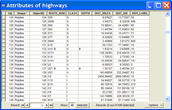 Highway attributes