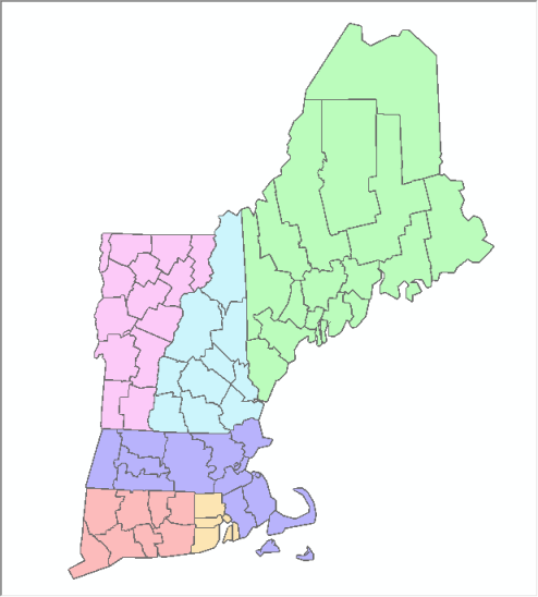 Virtual Dissolve - New England Counties with Outlines