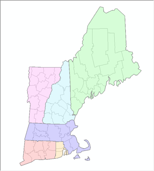 Virtual Dissolve - New England States and Counties