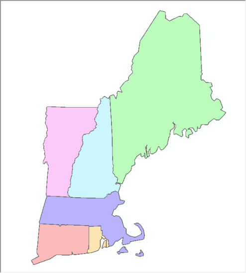 Virtual Dissolve - New England States with Outlines