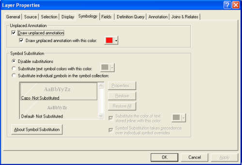 Unplaced annotation dialog box