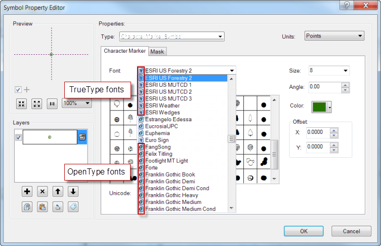 Fonts in ArcGIS Symbols - Figure 5
