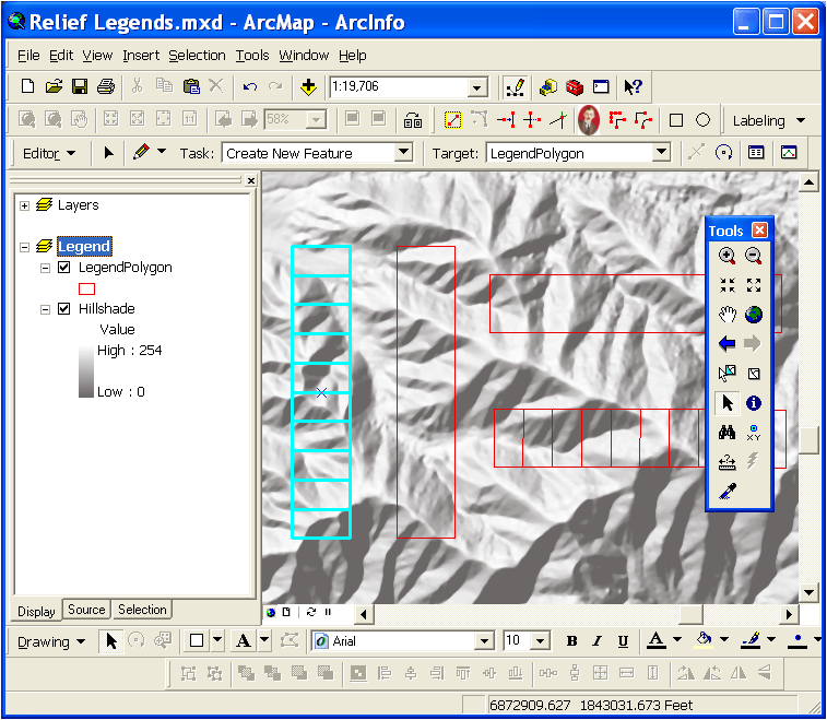 Editing the legend polygon's location in ArcMap