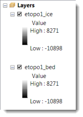 ETOPO1 Data Values