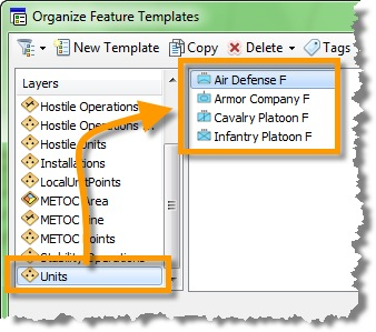 Organize feature templates dialog box