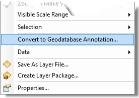Convert to geodatabase annotation