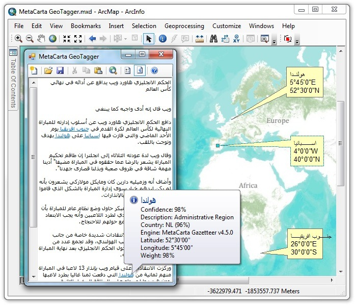 Geotagging text from an Arabic web page