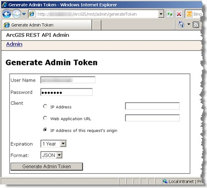 Generate admin token page