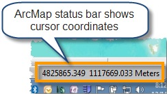Status bar coordinate display