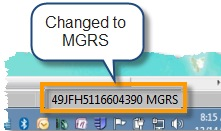 Status bar showing MGRS