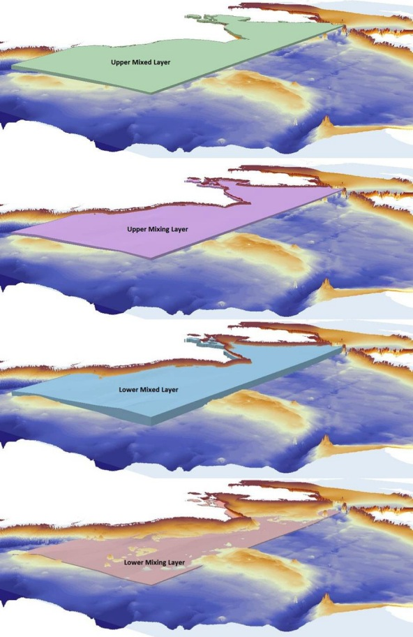 Volume elements representing water masses in the Chukchi Sea.