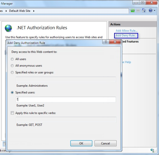 Add Deny Authorization Rule dialog