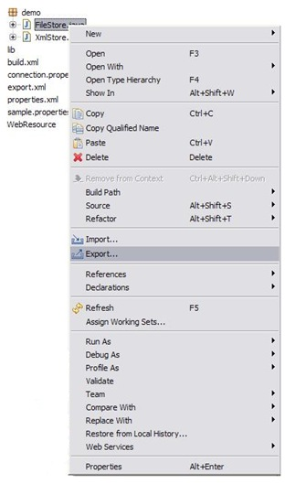 Export option on the context menu
