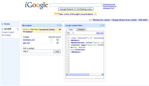 iGoogle page with developer gadgets