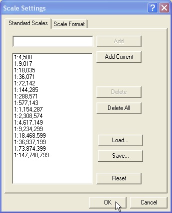 ArcGIS Online scales loaded in to list