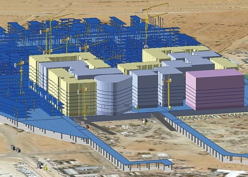 Staff at the City of Masdar use GIS to model building information throughout the life cycle of the project.
