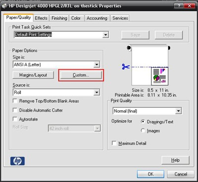 printer properties dialog box