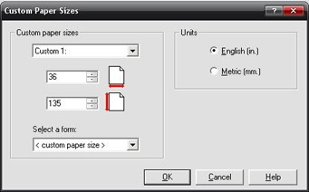 custom paper sizes dialog box