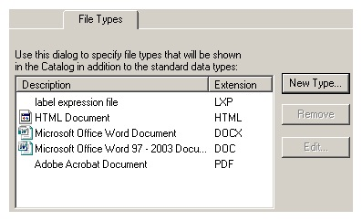 Add file types dialog