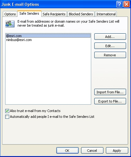 Junk E-mail Options dialog box