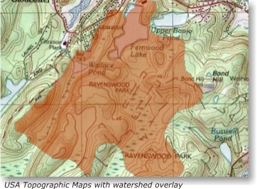 USA Topographic Maps with watershed overlay