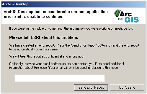 ArcGIS Desktop Application Error dialog box