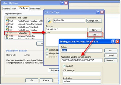 File Type dialog boxes in Windows XP