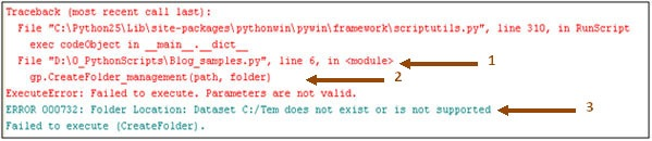 screen shot of typical Python error message