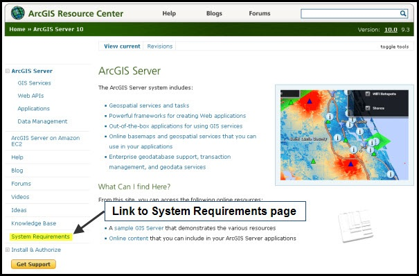 ArcGIS Server product page with sys req. link highlighted