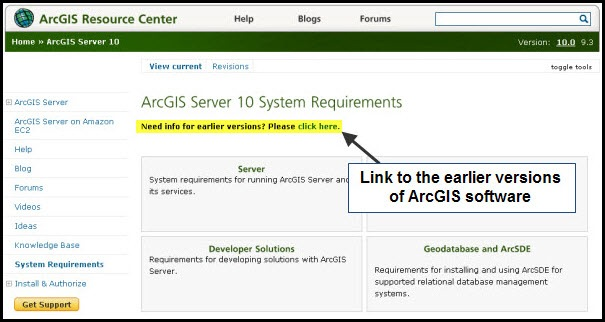 ArcGIS Server 10 System Req. page with the link to earlier versions