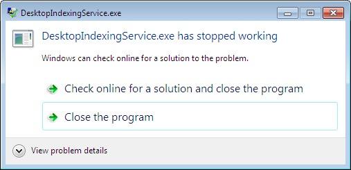 DesktopIndexingService exe Error Message when u    | GeoNet, The