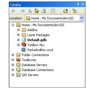 Home folder in ArcMap Catalog window