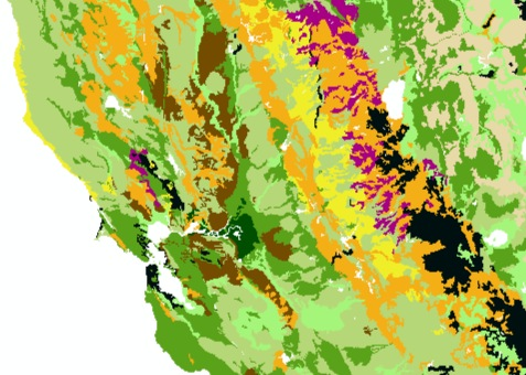 Soil Survey Map of the San Francisco Bay Area and Sierra Nevada Mountains