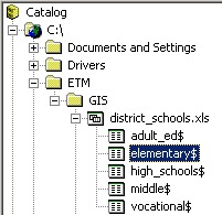 Selected worksheet in Catalog tree