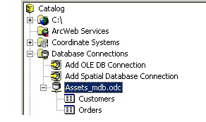 Database connection in Catalog tree